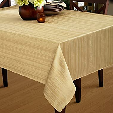Benson Mills Flow Heavy Weight  Spillproof  60-Inch by 120-Inch Fabric Tablecloth, Ivory