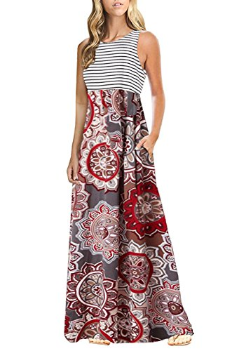 (OURS Sexy Sleeveless Floral Print Bohemian Tank Dresses Party Evening Maxi Dresses with Pockets (X-Pattern1, XL))
