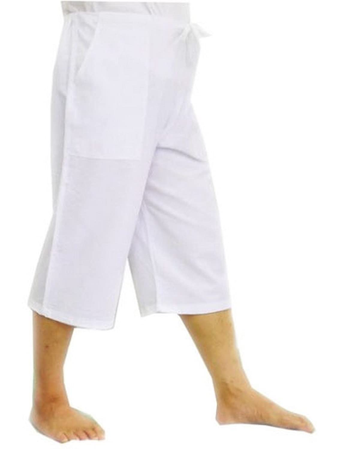 3/4 Pants Men and Women Unisex 100% Cotton Casual Drawstring Loose Capri Yoga Pajama Free Size,3 Pockets SPICY SERVED.