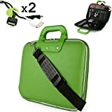 Uniquely designed SumacLife Brand Lime Green Ultra Durable Reinforced 12 Inch Cady Hard Shell Sports Bag for all models of the Samsung ATIV Tab 11 Inch Tablet (Samsung ATIV XE700T1C-A01US, ATIV Smart PC Pro 500T, 700T, with Keyboard, Tablet Only) + 2 Cable Holder Organizers