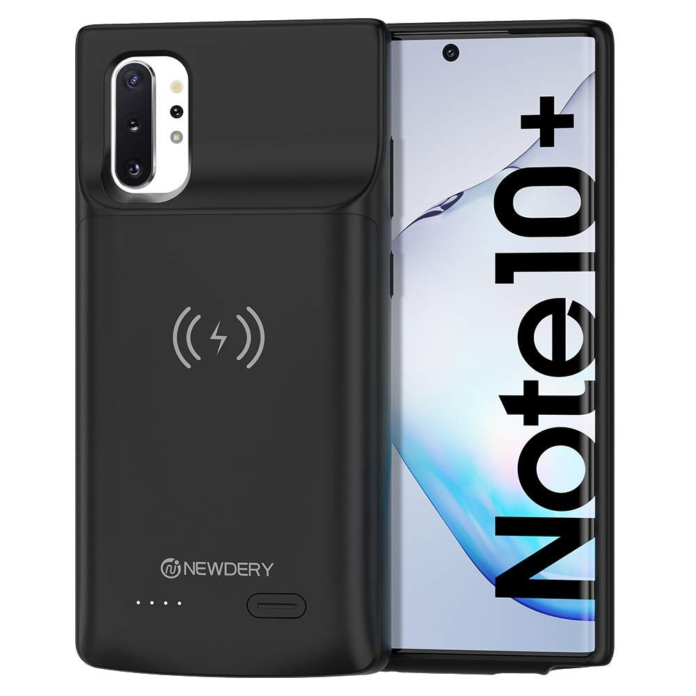 NEWDERY Galaxy Note 10 Plus Battery Case, Built-in 6000mAh Qi Wireless Charging Receiver Mode, Extended Backup Charger Case for Samsung Galaxy Note 10 + 5G by NEWDERY