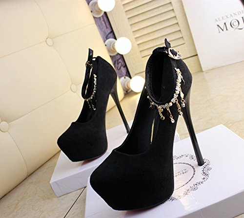 High Heels Platform Black 36 Women Shoes Sharp Single Work Lady Head Leisure MDRW Waterproof Heel Fine Store Spring Shoe Night Elegant 14Cm Buckle Sexy xRpgqwzZH