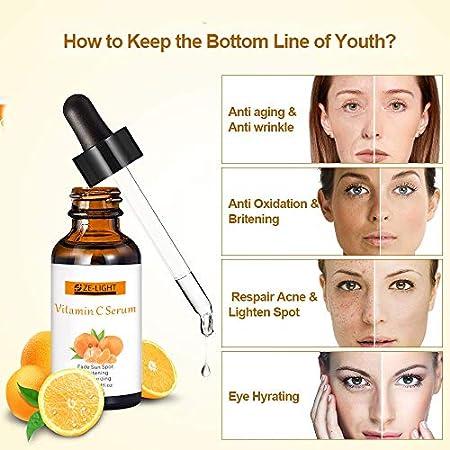 ZeLight Orgánico 20% Sérum de Vitamina C para la Cara con Ácido Hialurónico,Suero Facial Hidratante Anti Arrugas&Anti Envejecimiento y Anti Manchas para Mujer 30ml/1fl Oz