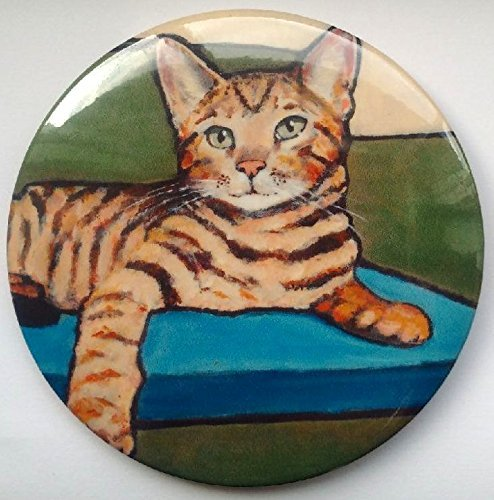 "Fridge Magnet, 3.5"", Bengal Cat, Kitten, Original Art, Painting, Animal, Pet"
