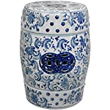 Round textured garden stool in a Ming blue and white floral pattern. High quality porcelain features traditional pierced double medallions in a rich blue color. Use to display a lamp or statue, or as a pair of low end tables by the sofa. Inte...
