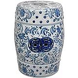 Oriental Furniture 18'' Floral Blue & White Porcelain Garden Stool