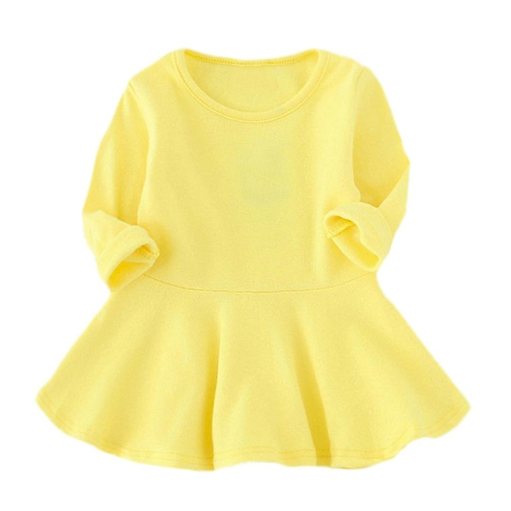 Mandystore Toddler Newborn Infant Kids Baby Girls Candy Color Long Sleeve Solid Princess Casual Dress Outfits Clothes