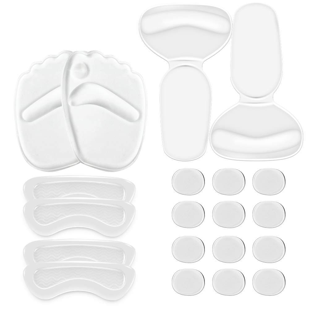 Back Heel Cushions Inserts, Pain Relief High Heels Gel Pad Set for Men & Women (Clear, 20 Pieces, Thick)