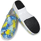 Womans Clog Shoe Memory Foam in Sole Anti Slip Grip Sole Technology, Water Stain Resistant. (5, White Tropical Blue)
