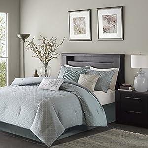 Madison Park Biloxi Queen Size Bed Comforter Set Bed In A Bag - Dusty Aqua, Geometric – 7 Pieces Bedding Sets – Ultra Soft Microfiber Bedroom Comforters