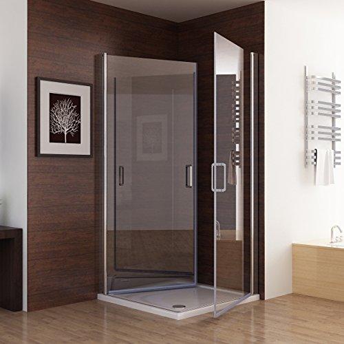 Duschabtrennung glas eckeinstieg  Duschkabine Dusche Duschwand 180° Schwingtür Eckeinstieg NANO Glas ...