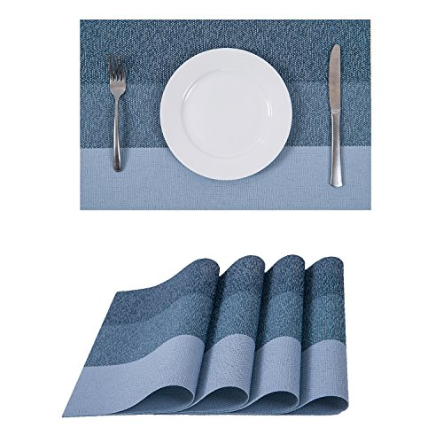 Set of 4 Placemats,Heat-resistant Placemats Stain Resistant Washable PVC Table Mats(Sky) for $<!--$10.99-->