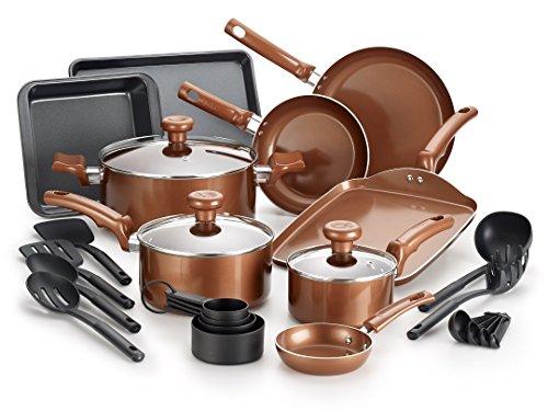 T-fal Copper Ceramic Nonstick Cookware Bakeware Pots and Pans Set, 20 Piece, Copper