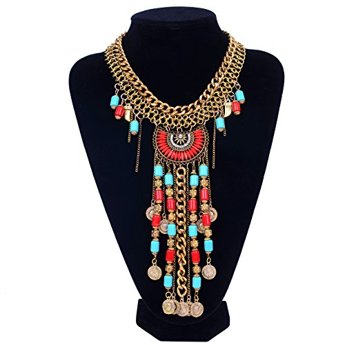 Paxuan Womens Antique Silver/Gold Alloy Vintage Long Boho Bohemia Turquoise Necklace Ethnic Tribal Beads Coin Fringe Statement Necklace Bohemian Style (Antique Gold) -