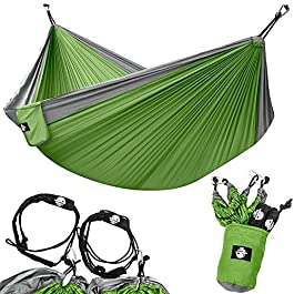 Legit Camping – Double Hammock – Lightweight Parachute Portable Hammocks for Hiking, Travel, Backpacking, Beach, Yard Gear Includes Nylon Straps & Steel Carabiners
