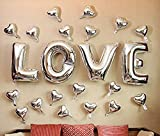 Love Balloon 40 Inches Giant Celebration Balloon Romantic Wedding Bridal Shower Anniversary Engagement Party Decoration by WULEEUPER (Silver)