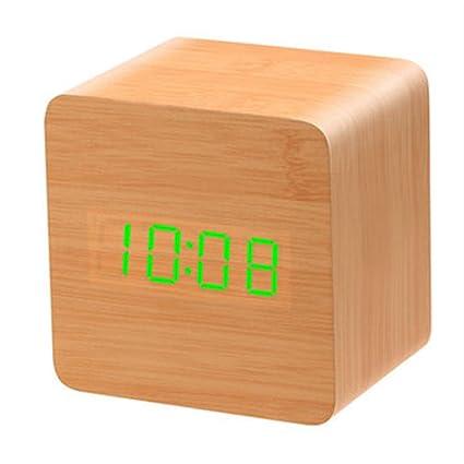 f3b625bc784d Excepcional Reloj Despertador de Madera, LED Cubo Cuadrado Alarma ...