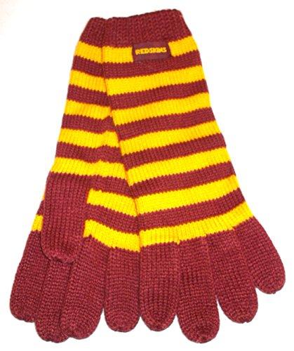 に応じてモザイク経度ワシントンレッドスキンズロングストライプリーボックニット手袋 – レディースOSFA