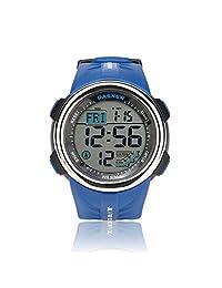 Teenagers Sport Watch | Multifunctional Wrist Clock | Digital Display | 5ATM Waterproof| EL Backlight | Stopwatch | Chronograph | 3 Alarms | Chime | PU Strap for Boys Girls (Blue)