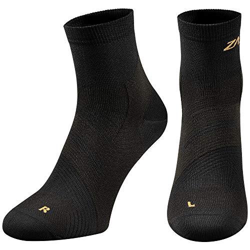 (ZaTech Plantar Fasciitis Sock, Compression Socks for Men & Women. Heel, Arch, Achilles, Ankle Light Support Brace. Increase Blood Circulation, Reduce Swelling (Black, Medium) )