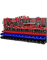 Werkplaatsrek, wandrek, 1728 x 780 mm, opslagsysteem met gereedschapshouders en stapelboxen, wandplaten, extra sterk werkplaatsrek, opbergrek (rood/blauw/zwart)