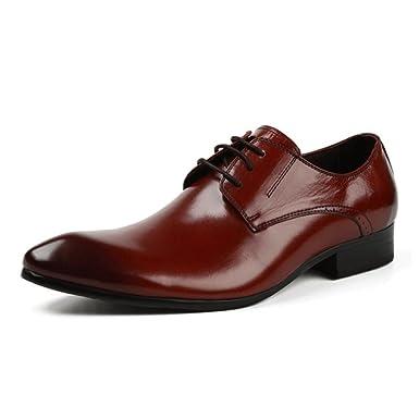 Herren Business Derby Classic Formale Echtes Leder Schnürschuhe Braun Spitz  Sandalen Hochzeit Oxford Uniform Schuhe  Amazon.de  Bekleidung e958040d34