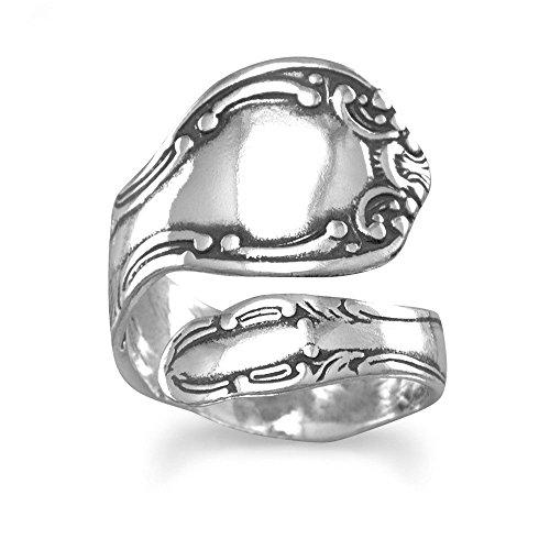 Edric Jewelry Spoon Ring Adjustable Size 6-11 Oxidized 925 Sterling Silver Swirl Motif Spoon Ring