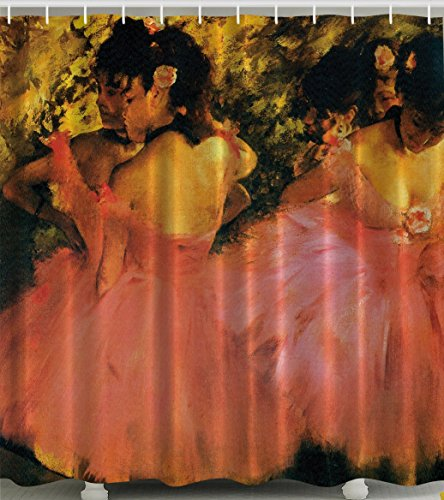 Edgar Degas Dancers in Pink Graphic Shower Curtain with Hooks - 69 Width x 70 Length by Navamark