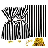 Clear Plastic Cellophane Treat Bags - Black White Stripes Party Favors Cello Bags Wedding Baby Shower Birthday Party Cookie Candy Treat Favors Bags, 200pc