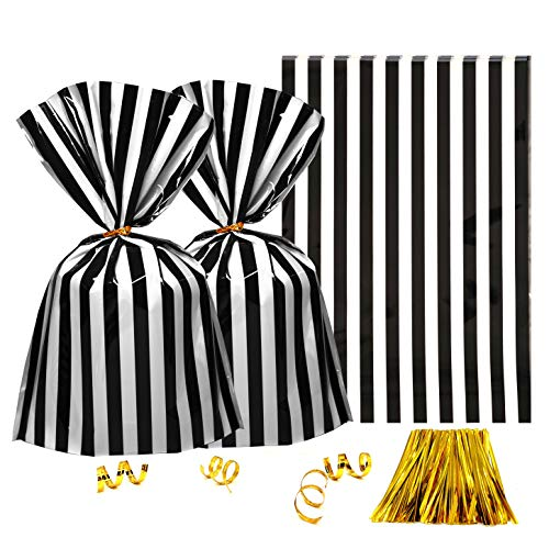 (Clear Plastic Cellophane Treat Bags - Black White Stripes Party Favors Cello Bags Wedding Baby Shower Birthday Party Cookie Candy Treat Favors Bags,)
