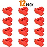 Hipat Red Emergency Whistles with Lanyard, Loud Crisp Sound, 12 Packs Plastic Whistle Bulk Ideal for Lifeguard, Self-Defense and Emergency (12 PCS Red Whistles)