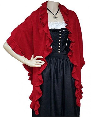 Trachtentuch Cape Poncho Umhang Stola Schultertuch Tuch Strickponcho Tracht, Farbe:rot