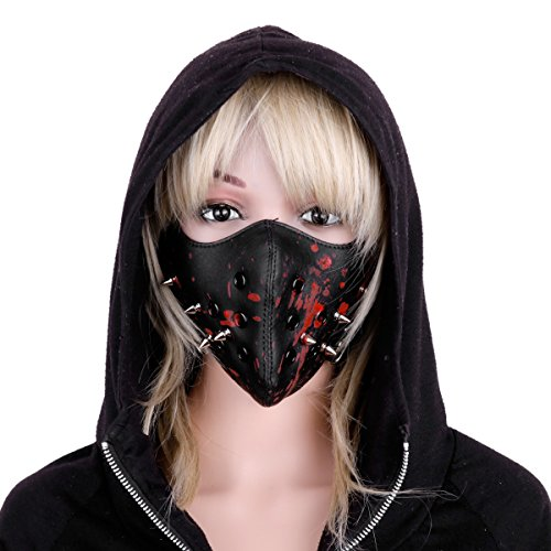 YiZYiF Adult Punk Leather Rivet Half Face Mask Horror Blood Cosplay Motorcycle Mask Black&Red One Size -
