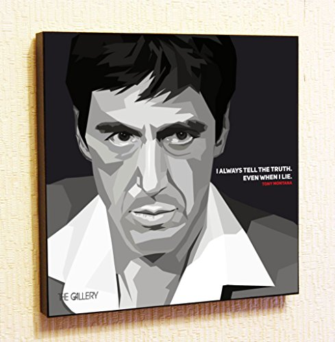 [Tony Montana Godfather Cinema Artist Actor Decor Motivational Quotes Wall Decals Pop Art Gifts Portrait Framed Famous Paintings on Acrylic Canvas Poster Prints Artwork Geek Decor] (Ninja Turtle Face Painting)