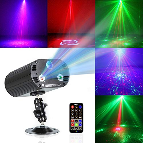 Party Light Disco Lights TONGK Stage Projection Effects RGB 3 Lens 36 Patterns Sound Activated LED Strobe Lights with Remote Control for Birthday Parties Wedding Bar Christmas Live Show Home -