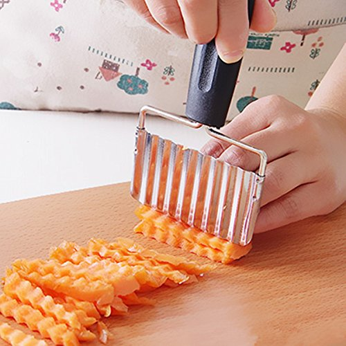 Kitchen Tools & Gadgets - Crinkle Cutter - Stainless Steel Handle Potato Carrot Wavy Cutter French Fries Chips Chipper Cutter Slicer Chipper - Vegetable Crinkle Cutter And French Fry Slicer - 1PCs
