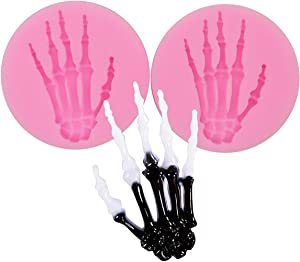 2 Pieces Skeleton Hands Molds Halloween party for Sugarcraft, Cake Decoration, Handmade Ice Cream,Cupcake Topper, Chocolate, Pastry, Cookie Decor, Jewelry, Polymer Clay, Crafting Projects