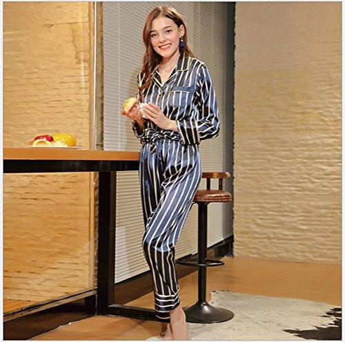 notte in Set camicia 藏青 donna per notte primavera abbigliamento l da da casa donna di Tuta da da Abbigliamento moda Pakamo pigiami da Camicia seta n8ZxBwgqdd
