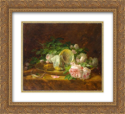 Georgios Jakobides 2X Matted 24x20 Gold Ornate Framed Art Print 'Platter with Seashells, Roses, Pearls and ()