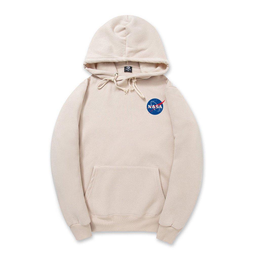 CORIRESHA Fashion NASA Logo Print Hoodie Sweatshirt with Kangaroo Pocket, Apricot, Medium