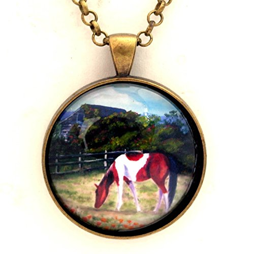 Paint Finish Pendants (Paint Horse Pendant Necklace California Poppies Barn Handmade Jewelry 24