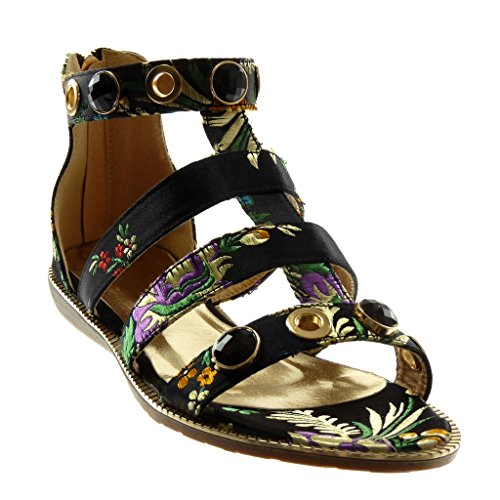 Angkorly Damen Schuhe Sandalen - Knöchelriemen - Römersandalen - Schmuck - Blumen - Bestickt Flache Ferse 1.5 cm Schwarz