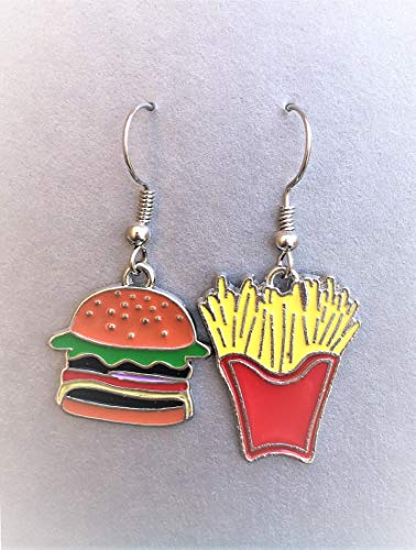 Handcraft Fun Burger and Fries Charm Drop Earrings Trending Motif Statement Earrings Asymmetrical Drop Earrings Enamel Charm Accessory -1 ¾ inches