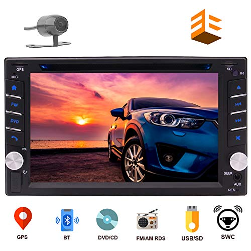 EINCAR Navigation Car DVD Player Double DIN Car Stereo in Dash Bluetooth Head Unit with Capacitive Touchscreen FM Auto Radio GPS in 2 DIN Car Audio Video MP3 USB Sd Map+Reverse Camera
