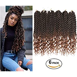 6Packs Goddess Faux Locs Crochet Braiding Hair Wavy 20Inch Top Quality Japanese Synthetic Braiding Hair Deep Wave Curly Ends Loc Hair Extension Fashion and Bouncy 24Roots/Pack (#1B/BUG)