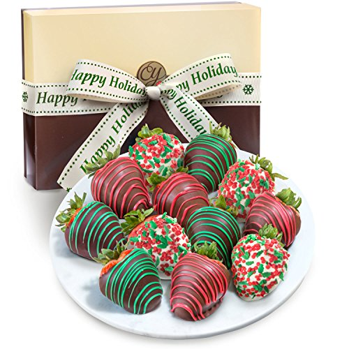 Golden State Fruit 12 Holly Jolly Christmas Chocolate Covered Strawberries with Happy Holidays Ribbon