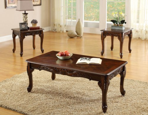 Furniture of America 3-Piece Chesapeke Table Set, Cherry Fin