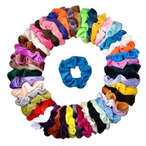 (Cehomi 46Pcs Hair Scrunchies Velvet Elastic Hair Bands Scrunchy Bobbles Soft Hair Ties Ropes Ponytail Holder No hurt, Soft for Women or Girls Hair Accessories)