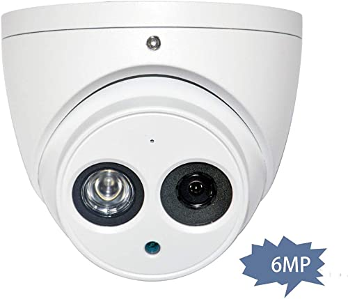 6MP Outdoor IP Dome POE Camera IPC-HDW4631C-A 2.8mm, 3072 2048, Turret Security Network Camera with Audio, Bulit in Mic, 164ft Night Vision, IP67 Weatherproof International Version