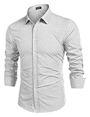 Coofandy Casual Long Sleeve Wave Point Business Button-Down Dress Shirts for Men Off-White